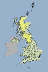 Yellow weather warning of ice