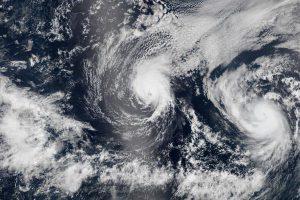 NASA satellite image of Hurricanes Iselle & Julio